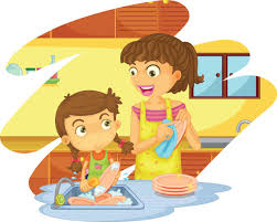 Royalty Free Mother Daughter Washing Dishes Clip Art