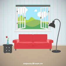 Living Room With Beautiful Views Vector Free