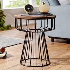 wohnling beistelltisch 47 x 55 x 47 cm wl5 644 sheesham holz metall couchtisch industrial style echtholz tischchen wohnzimmer holztisch sofatisch