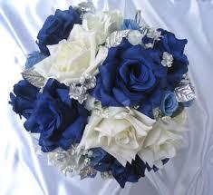39pc Bridal Bouquet Wedding Flowers NAVY BLUE WHITE SILVER