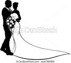 Bride And Groom Silhouette Wedding Concept Vector