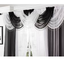Ebay Curtains With Pelmets Ready Made by Crystal Beaded Voile Swag Net Valance Pelmet For Curtains Slot