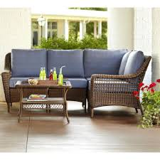Home Depot Deep Patio Cushions by Hanover Strathmere 6 Piece All Weather Wicker Patio Set With