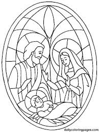 Nativity Coloring Page Mary Joseph And Baby Jesus In A Stained Glass Frame