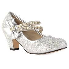 new girls silver diamante strap kids block heel mary jane court