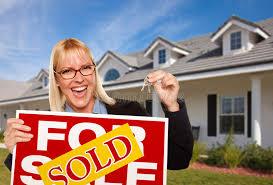 Download Female Holding Keys Sold Real Estate Sign Stock Image