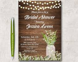 Rustic Bridal Shower Invitation Printable Mason Jar Spring