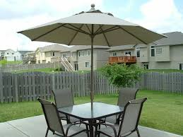 Exciting White Walmart Umbrella With Cozy Outdoor Dining Furniture And Wooden Fence