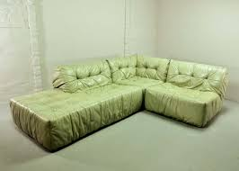 100 Roche Bobois Sofa Bed Rare Mint Green Leather Modular Lounge 66529
