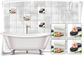 fliesen aufkleber spa wellness blume stein blatt violett grün weiß bad wc deko