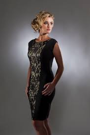 black and gold lace panel cocktail dress by perlae couture