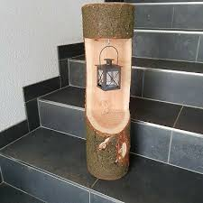 laterne stehle teelicht baumstamm natur kerzenhalter deko stamm holz herbst ebay