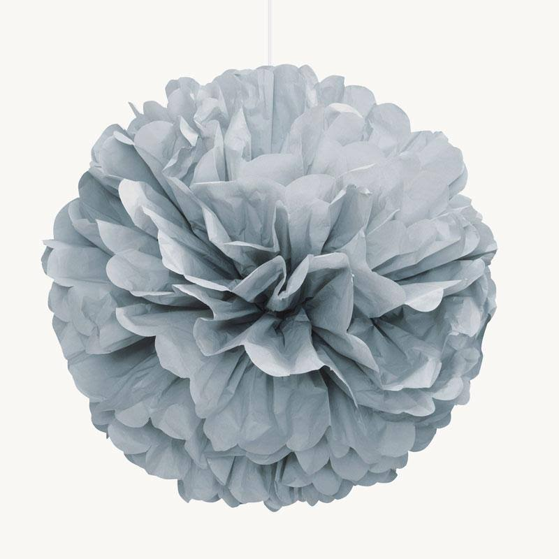 Tissue Paper Pom Pom Party Decoration - Silver, 40cm