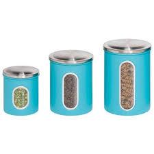 Honey Can Do KCH 01312 3 Piece Metal Nested Canister Storage Set Blue