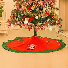 Wholesale Handmade Red Green 90cm 35 Diameter Christmas Tree Skirt Felt Applique Santa Claus Skirts Xmas Decorations Cheap