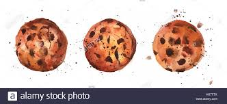 A watercolour drawing of chocolate chips cookies with splashes of paint around it hand drawn on a white background with a place for text