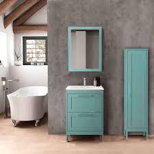 lomadox badmöbel set tarifa 110 spar set 3 tlg badezimmermöbel landhaus mit hochschrank spiegel blue b h t ca 115 200 45cm