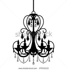 Chandelier Silhouette Isolated On White Background Vector Illustration
