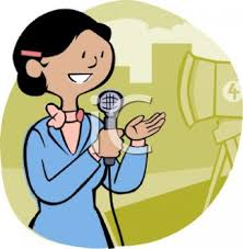 Cartoon Of A Female News TV Reporter On Camera