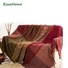 couverture canapé canapé couverture chenille vert bohême couverture pour