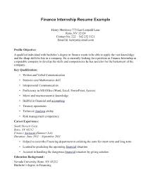 Finance Resume Objective For Internship In Bank Financial Analyst Sample Canada