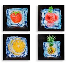toile de cuisine cadre toile cuisine fruit dans glaçon