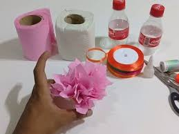 How To Make Flower Vase Using Tissue Paper With Plastic