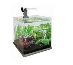 aquarium cube 15 litres gris complet pour eau douce et eau de mer