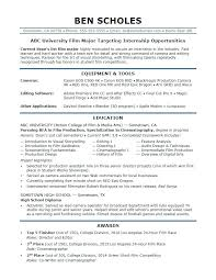 Sample Resume For Students Still In College A Film Industry Internship