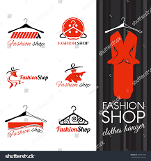 fashion shop logo clothes hanger studs stock vector 380173108
