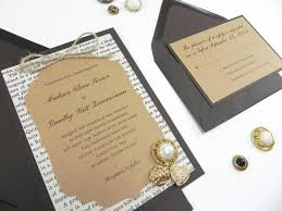 Rustic Victorian Style Book Page 4 Piece Wedding Invitation Suite Weathered Elegance