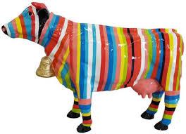 casa padrino designer dekofigur kuh mit streifen bunt 104 x h 67 cm deko skulptur wetterbeständige tierfigur