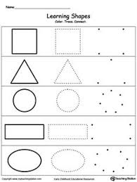 FREE Learn Basic Shapes By Coloring Tracing And Finally Connecting The Dots To Draw Shape With This Printable Worksheet