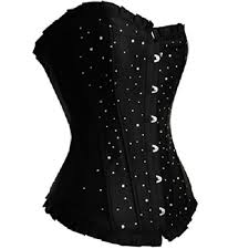 women satin rhinestone corset top xxxxxx large black 90
