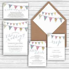 Personalised Luxury Rustic Wedding Invitations PRETTY BUNTING FLORAL Packs Of 10