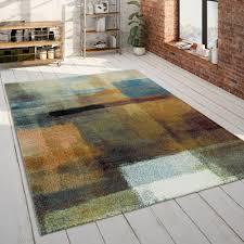 teppich wohnzimmer blau orange bunt gemälde design 3 d muster kurzflor