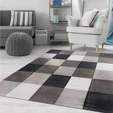 moderner teppich kariert grau schwarz weiss teppich muster vimoda homestyle