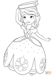 Click The Princess Sofia With A Book On Her Head Coloring Pages