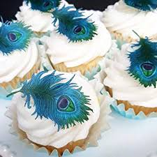 Assorted Edible Peacock FeatherWafer Rice Paper Cupcake Toppers