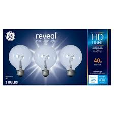 ge reveal 40 watt g25 incandescent light bulb 3 pack clear