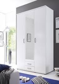 details zu kleiderschrank drehtüren schrank schlafzimmerschrank weiß mit spiegel 120 cm