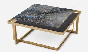 casa padrino luxus couchtisch messingfarben blau schwarz schwarz 93 x 93 x h 40 cm moderner quadratischer wohnzimmertisch mit granitplatte