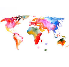 Map Of The World ART PRINT 13X19 Original Watercolor Painting And