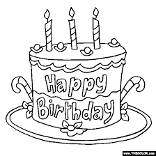 Happy Birthday Cake Online Coloring Page