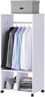 homcom mobiler kleiderschrank garderobe schrank mit regal 4 schwenkräder für wohnzimmer schlafzimmer aluminiumlegierungen 60 x 40 x 128 cm weiß