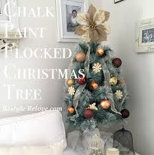 Flocked Christmas Trees Decorated by Chalk Paint Flocked Christmas Tree