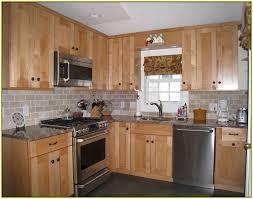 Subway Tile Backsplash Maple Cabinets