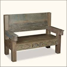 Rustic Reclaimed Wood Bench With Back And Arms Of 19 Extraordinary