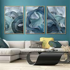 blau und gold marmor abstrakter druck leinwand poster bild