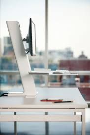 Dual Screen Standing Desk by Humanscale U0027s Quickstand Workstation The Sit Stand Converter For